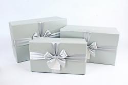 Набор подарочные коробок из 3шт -  Прямоугольник серый   К494