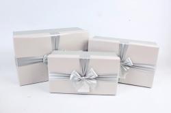 Набор подарочные коробок из 3шт -  Прямоугольник серый-экрю  К494