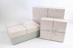 Набор подарочные коробок из 3шт -  Прямоугольник Созвездия кремовый    К493