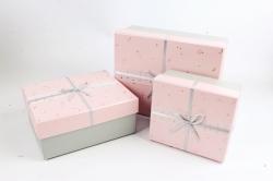 Набор подарочные коробок из 3шт -  Прямоугольник Созвездия розовый    К493
