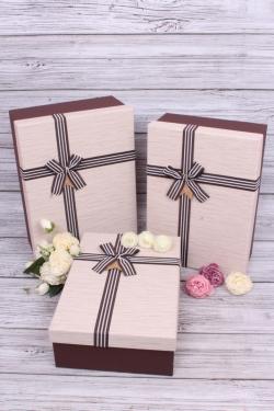 Набор подарочные коробок из 3шт -  Прямоугольник тиснение с тесьмой шоколад 36*26*14см В343