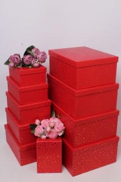 Набор подарочные коробок из 10шт -  Прямоугольник золотая точка красный 37*28*16см К846