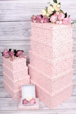 Набор подарочные коробок из 10шт -  Прямоугольник золотая точка светло розовый 37*28*16см К282