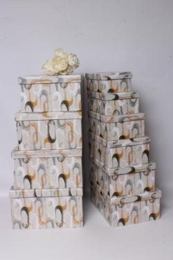 Набор подарочные коробок из 10шт -  Прямоугольник Звенья на сером 36*28*16см К535
