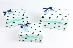 Набор подарочные коробок из 3шт -  Прямоугольник-шкатулка бантики на голубом   К507