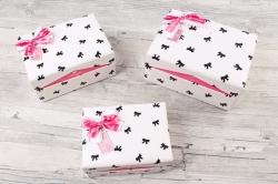 Набор подарочные коробок из 3шт -  Прямоугольник-шкатулка бантики на розовом  К507