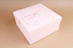 Набор подарочные коробок1шт - Квадрат Млечный путь розовый  В822