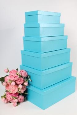 Набор подарочных коробок №81 из 6шт - Прямоугольник Голубой перламутр Пин81ГП