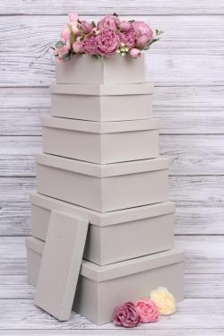 Набор подарочных коробок №81 из 6шт - Прямоугольник Серебро 34*24*12см Пин81СРК