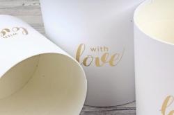 Набор подарочных коробок (3 шт) - Цилиндр белый с вставкой Сердце  К836
