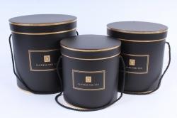 Набор подарочных коробок (3 шт) - Цилиндр Цветы   W9973  (М)