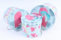 Набор подарочных коробок (3 шт) - Цилиндр Единорог с сердцем   W9918  (М)