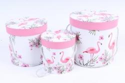 Набор подарочных коробок (3 шт) - Цилиндр Фламинго W6689  (М)
