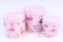 Набор подарочных коробок (3 шт) - Цилиндр Фламинго   W9866  (М)