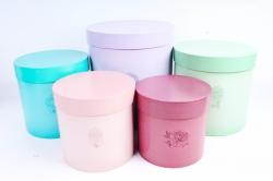 Набор подарочных коробок (5 шт) - Цилиндр Жемчуг 3874100
