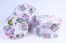 Набор подарочных коробок (3 шт) - Цилиндр Гортензия и бабочки  R12