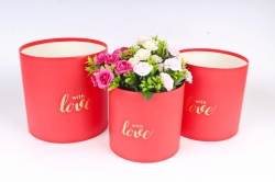 Набор подарочных коробок (3 шт) - Цилиндр красный с вставкой Сердце   К836