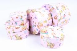 Набор подарочных коробок (5 шт) - Цилиндр Мишки на розовом  Пин80-1МР  М