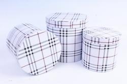 Набор подарочных коробок (3 шт) - Цилиндр шотландка белая  R10