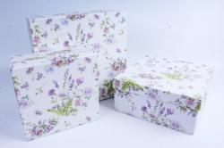 Набор подарочных коробок (3 шт) - Квадрат Лаванда и роза