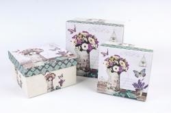 Набор подарочных коробок (3 шт) - Квадрат Лаванда с телефоном   D63