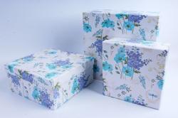 Набор подарочных коробок (3 шт) - Квадрат Василёк и мак