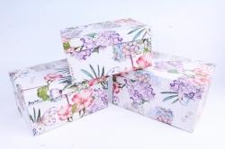 Набор подарочных коробок (3 шт) - Прямоугольник Гортензия и бабочки  R11