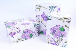 Набор подарочных коробок (3 шт) - Прямоугольник Гортензия сиреневая R11