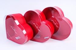 Набор подарочных коробок (3 шт) - Сердце красное  с окном W9827 (С)