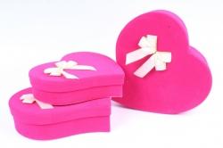 Набор подарочных коробок-( 3 шт) - Сердце-капля Бархат малиновое    S65