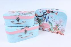Набор подарочных коробок (3 шт) - Сундучок Цветы    W9997  (М)