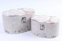 Набор подарочных коробок (2 шт) - Сундучок Овал    W9902  (С)