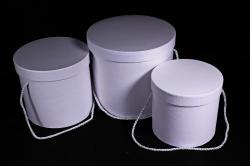 Набор подарочных коробок (3 шт) Цилиндр белый  В51
