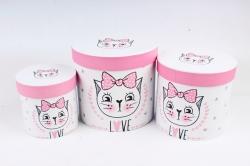 Набор подарочных коробок (3 шт)- Цилиндр Белый кот   б  К715