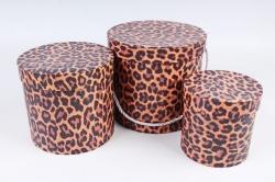 Набор подарочных коробок (3 шт)- Цилиндр Леопард   К305
