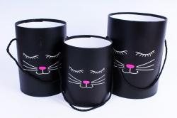 Набор подарочных коробок (3 шт) Цилиндр с Мордочкой без крышки черный под цветы  К302