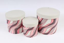 Набор подарочных коробок (3 шт)- Цилиндр Волны серый   К306