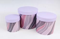 Набор подарочных коробок (3 шт)- Цилиндр Волны сирень    К306