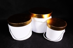 Набор подарочных коробок (3 шт) Цилиндр золотая крышка белый   К204
