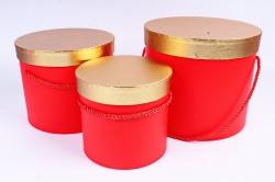 Набор подарочных коробок (3 шт) Цилиндр золотая крышка красный  К204