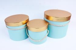 Набор подарочных коробок (3 шт) Цилиндр золотая крышка мятный   К204