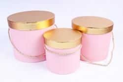 Набор подарочных коробок (3 шт) Цилиндр золотая крышка розовый  К204