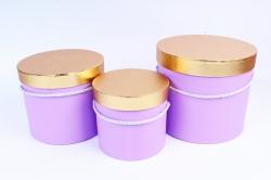 Набор подарочных коробок (3 шт) Цилиндр золотая крышка сирень К204
