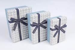 Набор подарочных коробок (3 шт)- Прямоугольник меланж голубой  К710
