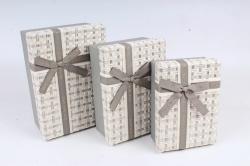 Набор подарочных коробок (3 шт)- Прямоугольник меланж серый  К710