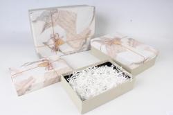Набор подарочных коробок-( 3 шт) Прямоугольник Прямоугольник Винтаж серый 33*25*11 S643