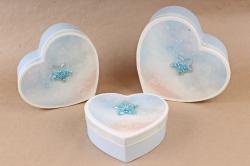 Набор подарочных коробок (3 шт)- Сердце космос голубое    S562