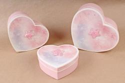 Набор подарочных коробок (3 шт)- Сердце космос розовое  S562
