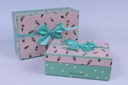 Набор подарочных коробок 2шт. Прямоугольник с мороженым салатовый