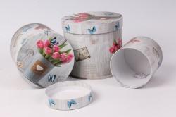 Набор подарочных коробок (3 шт) Цилиндр Тюльпаны